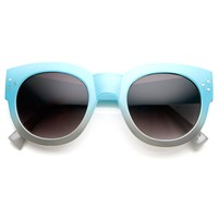 Colorful Two-Tone Bold Rim Round Oversized Horn Rimmed Sunglasses