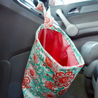 Water Resistant Car Trash Bag/Organizer Caddy for Gear Shift Retro Pink/Red Flowers with Red Lining Washable Car Trash/Waste/Refuse Bag