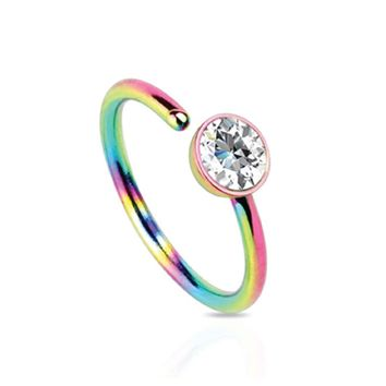 Nose Ring Hoop Stainless Steel Rainbow Clear CZ Gem 20G Piercing Jewelry