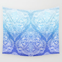 Out of the Blue - White Lace Doodle in Ombre Aqua and Cobalt Wall Tapestry by Micklyn