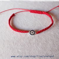Red string macrame Evil Eye Bracelet, Sterling silver evil eye handwoven adjustable slipknot bracelets, White, Black, Red layering christmas