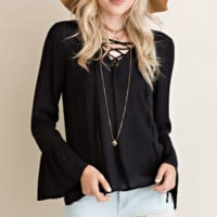 Lace Up Bell Sleeve Blouse - Black