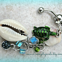 Turtle Shell Belly Ring, Natical Jewelry, Beach Jewelry, Navel Jewelry, Direct checkout
