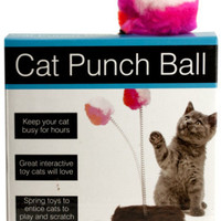 cat punch ball toy with furry base Case of 5