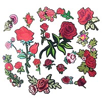 Applique Embroidery Flower Patches For Clothing Iron On Transfers Rose Patch Stickers For Garment DIY Sewing Badge For Jeans