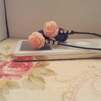 LT Pink and glitter Rose Black earbuds with Swarovski Crytals
