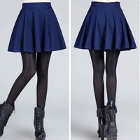 High Waisted Flared Pleated Cotton Mini Skirt