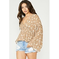 The Willow Bell Sleeve Blouse (Taupe)