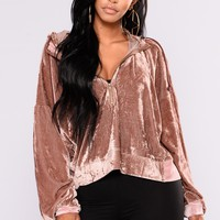 Out and About Velvet Sweater - Mauve