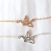 Origami Paper Crane Bracelet - Gold and Silver