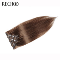Rechoo #8 Light Brown Brazilian Non-remy Straight Clips In Human Hair Clip In Extensions 7Pcs/Set 100 Gram Full Head Set
