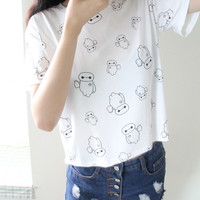 White Printed Short Sleeve Shirt