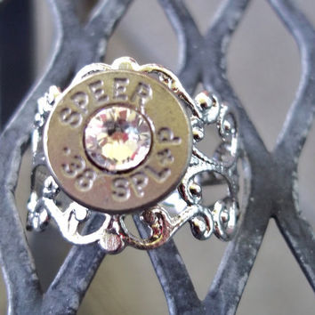 Bullet Vintage Ring Clear by Sarahsjewelrydesigns on Etsy