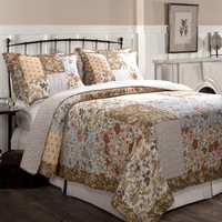 Full / Queen OverSized Cotton Floral Patchwork Quilt Set