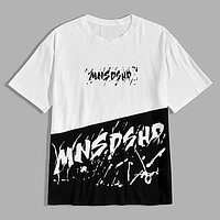 Fashion Casual Men Two Tone Letter Graphic Tee
