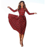 'Plaid And In Love'  casual knee-length dress