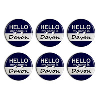 Davon Hello My Name Is Plastic Resin Button Set of 6