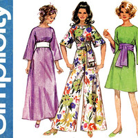 1960s Jiffy Pantdress Pattern Bust 36 Simplicity 8560 Maxi Dress Palazzo Pant Jumpsuit Obi Sash Kimono Sleeve Womens Vintage Sewing Patterns