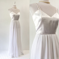 1960s vintage white satin & chiffon wedding maxi dress gown pleated draped // grecian goddess cocktail party // size XXS