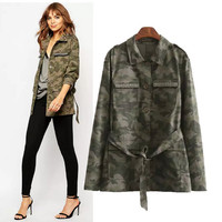 Stylish Long Sleeve Cotton Camouflage Coat Women's Fashion Tops Jacket [5013108100]