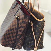 High quality LV Louis Vuitton Women Shopping Leather Tote Handbag Shoulder Bag Purse Wallet Set Two-Piece-2