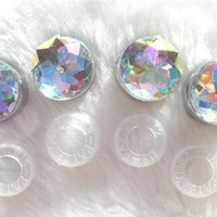 BLING Crystal AB color License Plate Screw Caps