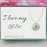 Lil Sis necklace Sterling Silver initial Gift for Sister I love my Lil Sis Birthday gift for Sister