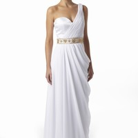 White Chiffon Grecian Evening Dresses From VERB