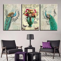Canvas Pictures Home Decor Living Room Wall Art 3 Pieces Green Peafowl Flower Painting HD Prints Peacock Couple Poster Framework