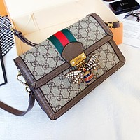 GUCCI Hot Sale Women Classic Bee Buckle Leather Stripe Shoulder Bag Crossbody Satchel
