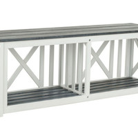 """Stratford 51"""" Outdoor Bench, White/Gray, Outdoor Benches"""