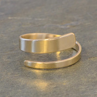 Solid 14k Yellow Gold Dainty Bypass Ring with Simple Modern Elegance