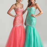 Coral Beaded Tulle Strapless Lace Up Mermaid Prom Gown - Unique Vintage - Prom dresses, retro dresses, retro swimsuits.