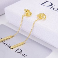 Dior Popular Women Stylish Tassel Pendant Earrings Accessories Jewelry