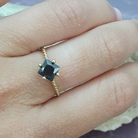 SALE!Black Onyx Ring,Gemstone Ring,Square Stacking Ring,Prong Setting ring,Gold Ring, Birthstone ring