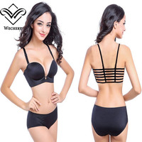 Hot Sexy Bras For Woman Seamless Solid Black Super Push Up Side Closure Six Straps Bra Adjustable Underwear  Female Brassiere