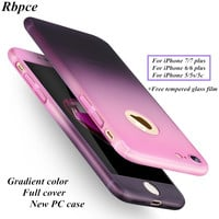 Hot fashion gradient color case for iPhone 5 5S 5C 6 6S Plus 7 7 Plus Ultra-thin 360 degree full cover +free tempered glass film