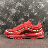 Nike Air Max 97 Red Leather Essential Sport Running Shoes - Best Online Sale