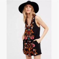 """Free People"" Fashion Ethnic Retro Totem Embroidery V-Neck Sleeveless Vest Mini Dress"