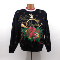Ugly Christmas Sweater Vintage Sweatshirt Horn Party Xmas Tacky Holiday size L