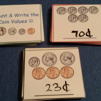 Counting Money Flash Cards LAMINATED & DRY ERASE, Coin Value, First Grade Math, Kids Educational Toy, 1st Grade Learning, Montessori, Money