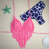 Women's Sexy Tankinis Swimwear Tassels Top Bikini Swimsuit Beach Pink Bathing Suit 2pc Set