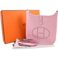 Auth HERMES Evelyn PM 3 Women Triill Clemence Shoulder Bag