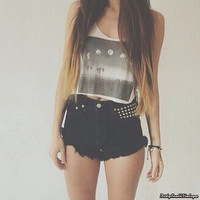 Mystery Hipster Outfit:High Waisted Black Shorts & Lazy Tee Shirt - All Sizes