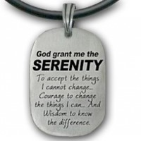 """Serenity Prayer Necklace Pendant - Dog Tag style (18.5"""") PVC rope chain. God Grant Me the Serenity... High Quality Pewter Sobriety gifts. Serenity Prayer Jewelry. Serenity Prayer Gifts for men or Women."""