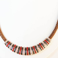 Crystal Beaded Necklace on a Brown Nylon Rope, Festive Colors, Red and Clear Crystals, Black Enamel Brass Focal Bead, Christmas Gift for her