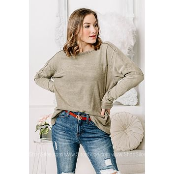 Into It Basic Sage Green Top