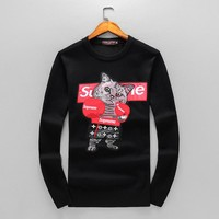 Supreme 2018 tide brand autumn hip-hop boxing cat print men and women round neck sweater Black