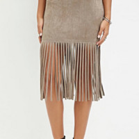 Suede Leather Skirt Fringe Tassel Bodycon Skirts
