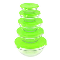 Glass Bowl Set With Green Lids